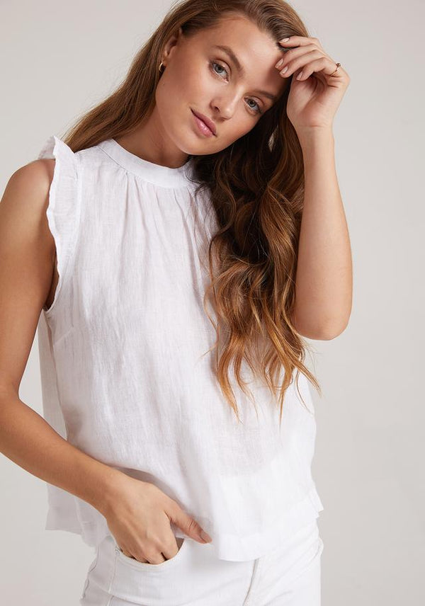 BELLA DAHL Mock Neck Ruffle Top - white