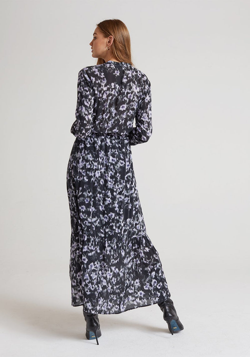 Ruffle Hem Maxi Dress in Black Floral