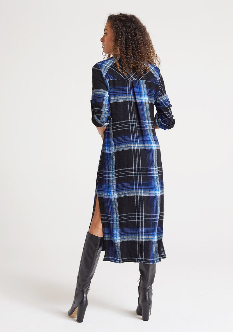 Duster Dress in Cobalt Pucker Plaid