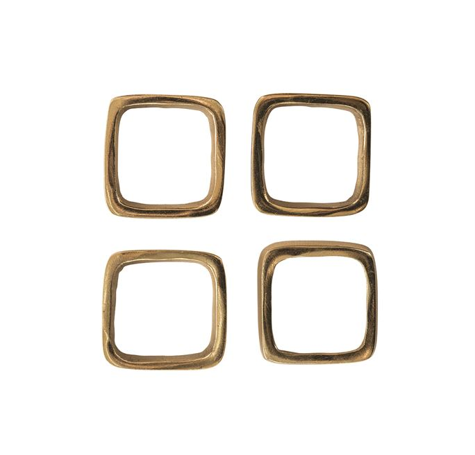Brass Square Metal Napkin Rings