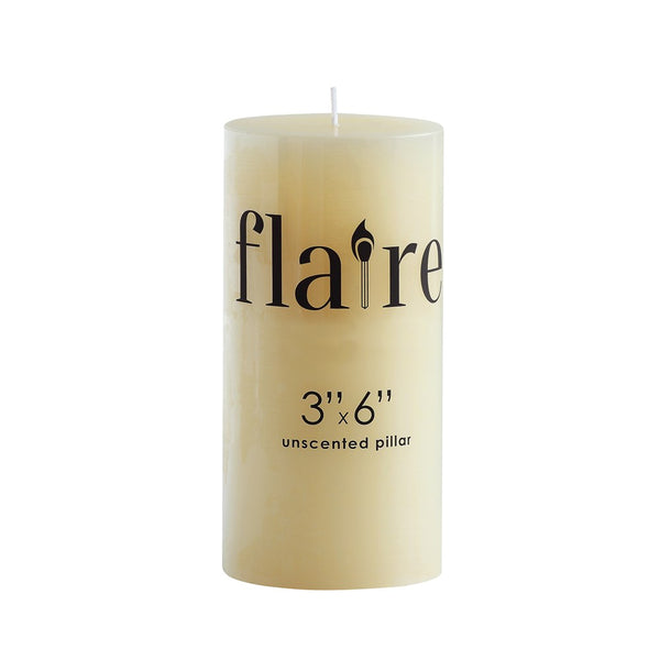 "3x6"" Unscented Pillar Candle"
