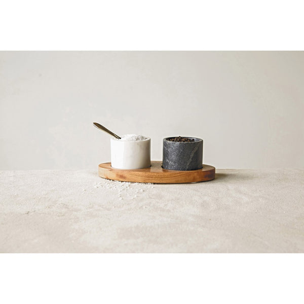 CREATIVE CO-OP Salt & Pepper on Tray