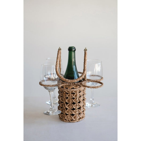Seagrass Wine Bottle & Glass Holder