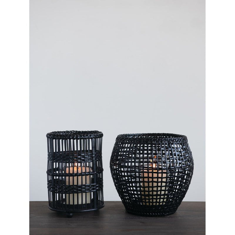 Woven Rattan and Bamboo Round Lantern