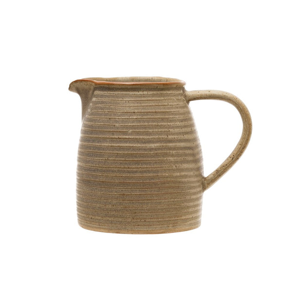 Small Stoneware Pitcher With Reactive Glaze