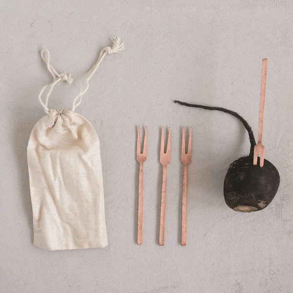 Copper Appetizer Forks set of 4