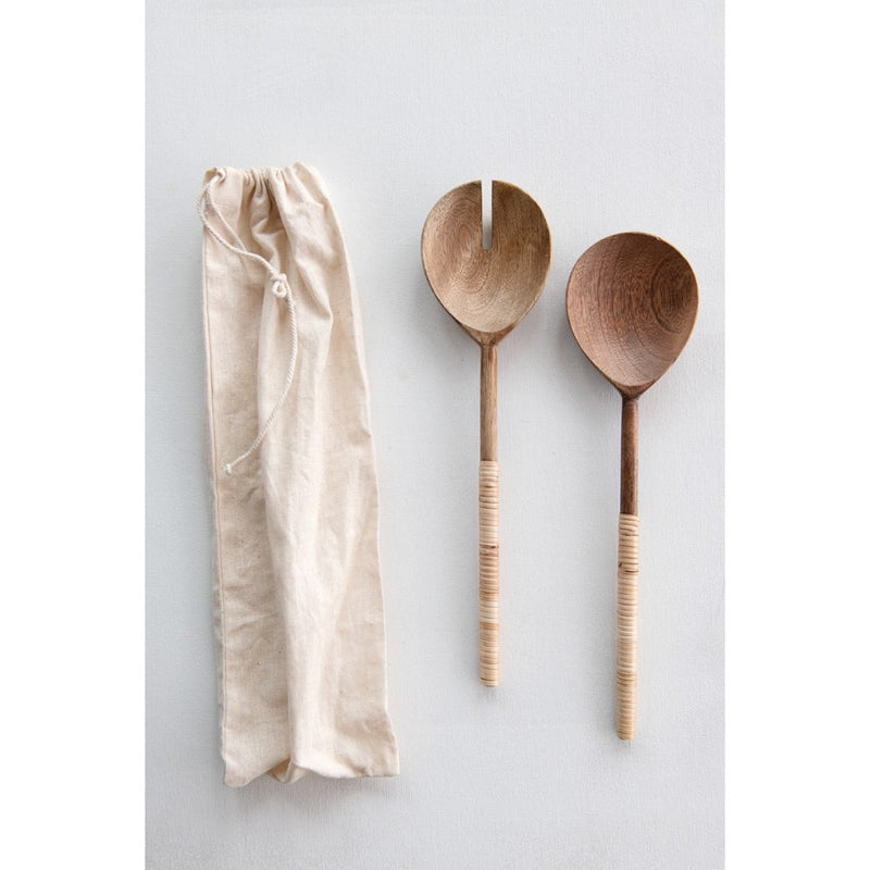 Wood Salad Servers With bamboo Wrap