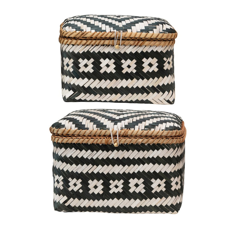 Hand Woven Bamboo Boxes with Lids and Closures
