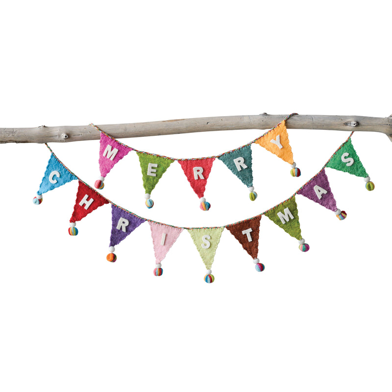 Colorful Merry Christmas Wool Felt Banner