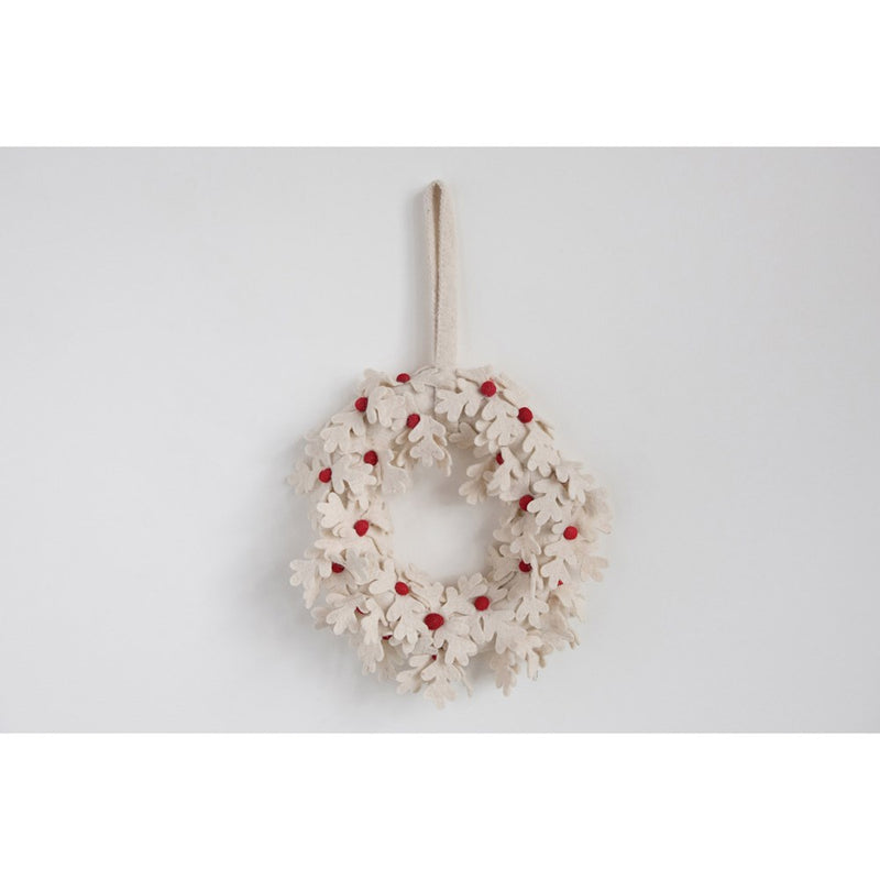 "12"" Wool Felt Wreath With Red Berries"