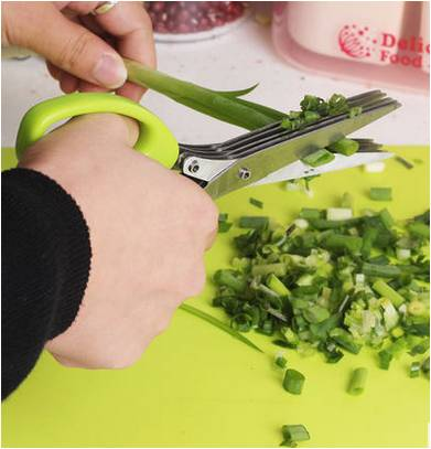 tainless steel multi-function kitchen multi-layer spice chopped green onion cut five-layer scissors