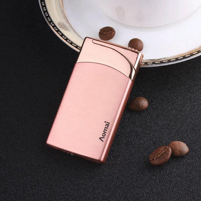 Portable Ultra-thin Windproof Lighter Metal Small Cigar Lighters Red Flame Refillable Butane Gas Lighter