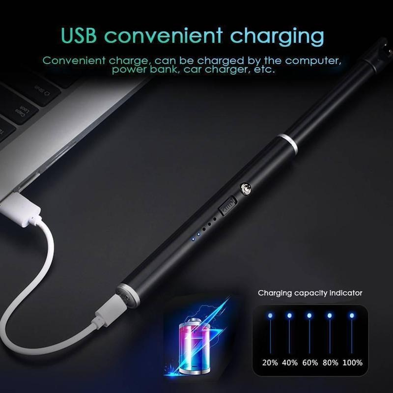 USB Rechargeable Arc Lighters Gift Windproof Electric Metal Shell Gas Lighter Kitchen Outdoor Barbecue Camping Fire Starter