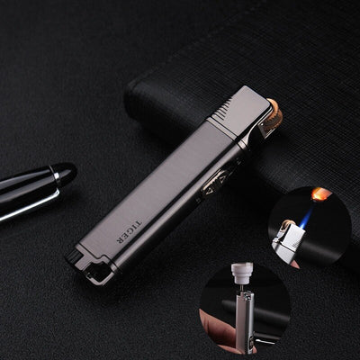 Refillable Gas Lighters Grinding Wheel Inflatable Windproof Lighter Metal Personality Ultra-thin Fixed Fire Cigarette Lighter