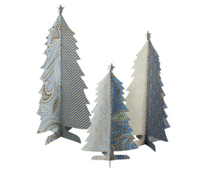 Paper Christmas Trees set Of 3 - Blue