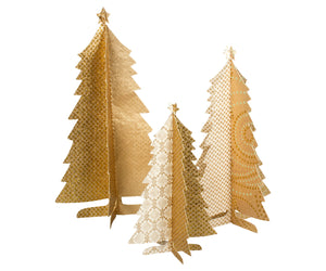 Paper Christmas Trees Set of 3 - Gold
