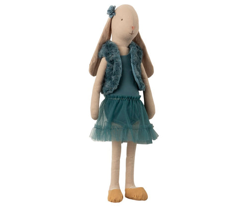 Large toy rabbit doll with petrol blue clothes