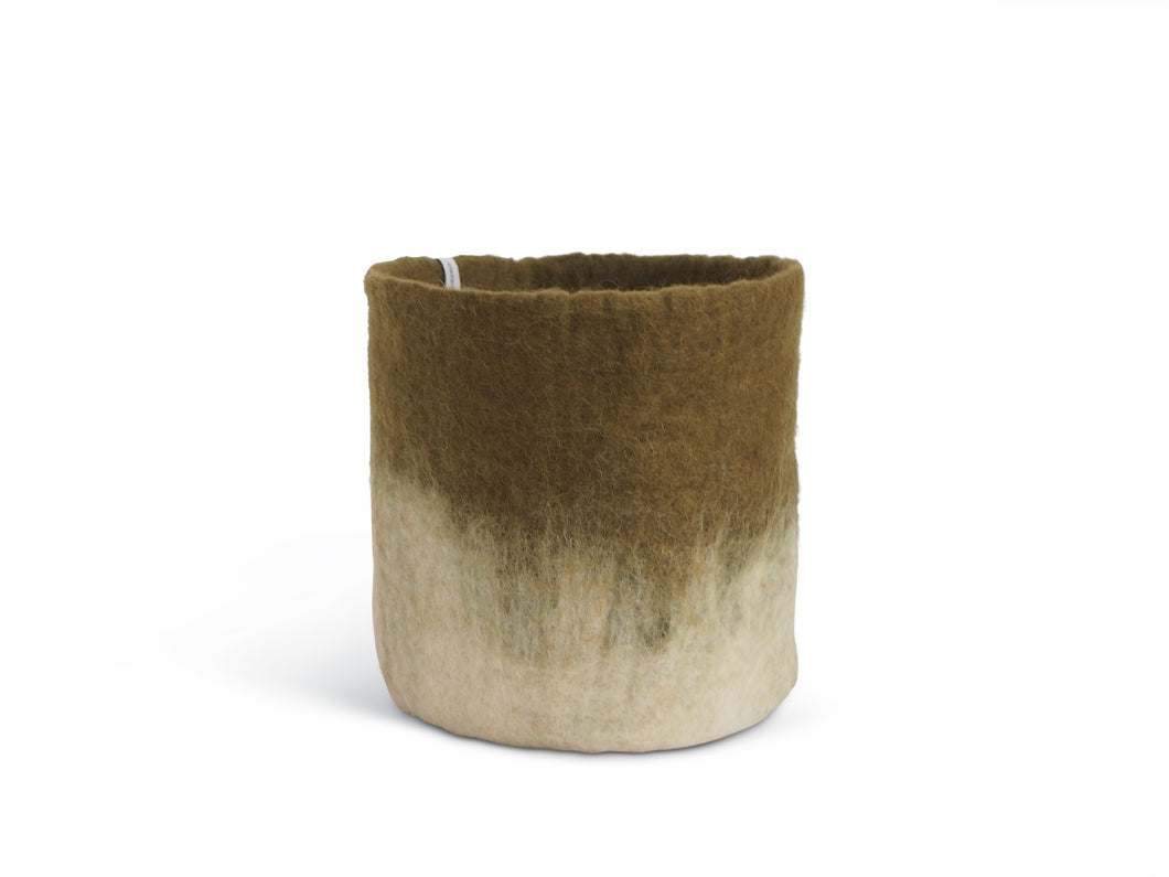 Flower Pot Large - Olive Two-Tone