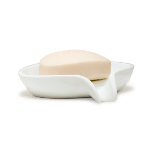 White silicone soap dish with a bar of soap