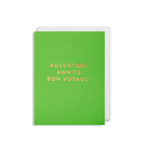 A lime green card with