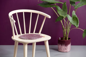 Seat Cushion with Leather Handle - Aubergine