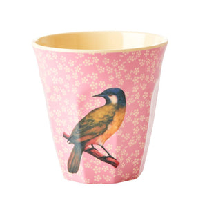 RICE Vintage with Bird Pink Cup Medium
