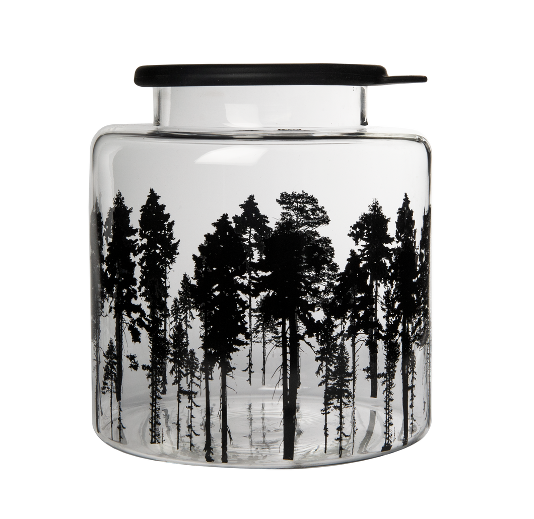 Forest Glass Jar with Silicone Lid