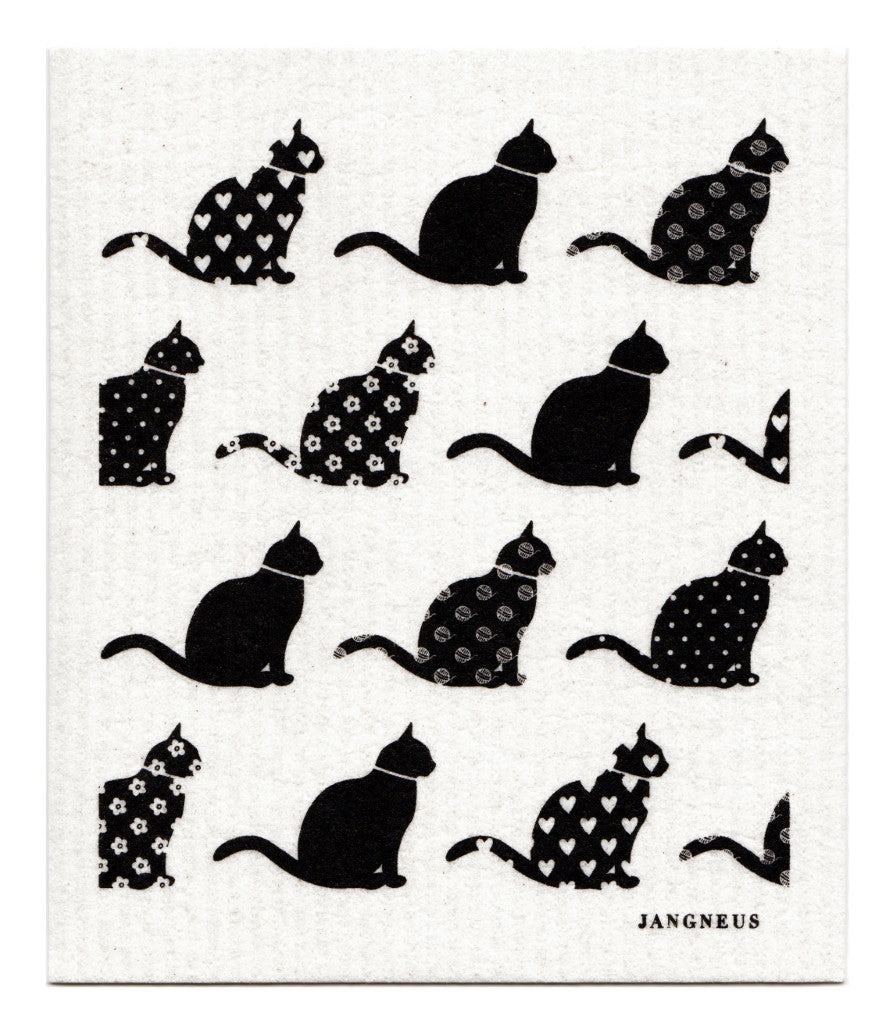 Cats Dishcloth - Black
