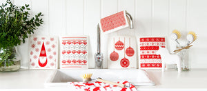 Red Baubles Dishcloth