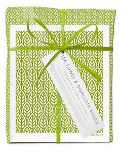 New Leaves Green Bundle (1 Teatowel 3 Dishcloths)
