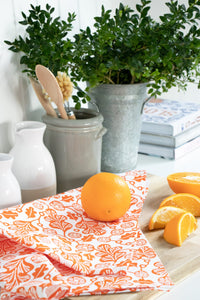 Orange Fox and Oak Bundle (1 Teatowel 3 dishcloths)