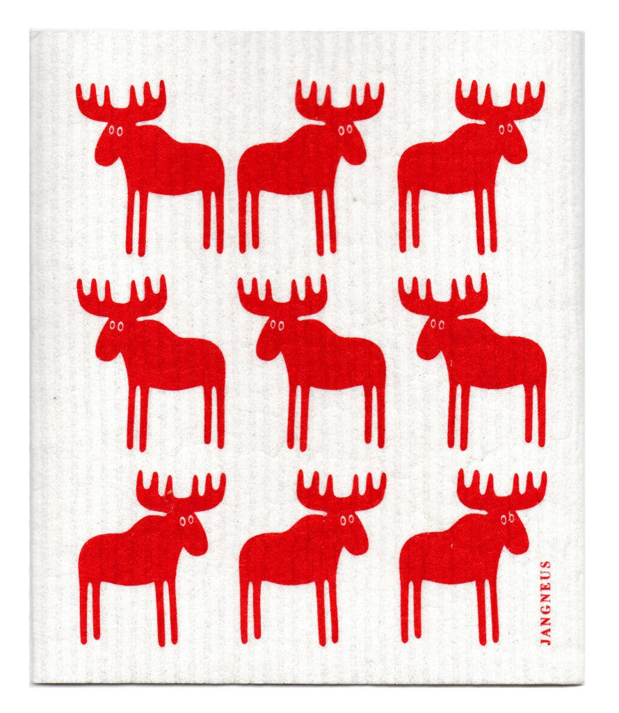 Moose Dishcloth - Red