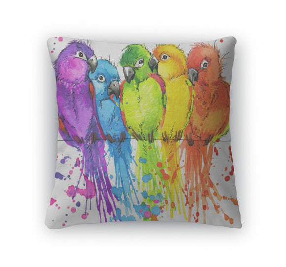 Throw Pillow, Tshirt Graphics Colorful Parrots Illustration Watercolor