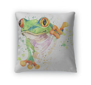 Throw Pillow, Funny Frog Tshirt Graphics Frog Illustration With Splash Watercolor D Unusual