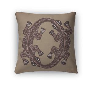 Throw Pillow, Print Traditional African Ethnic Ornament With Two Lizard