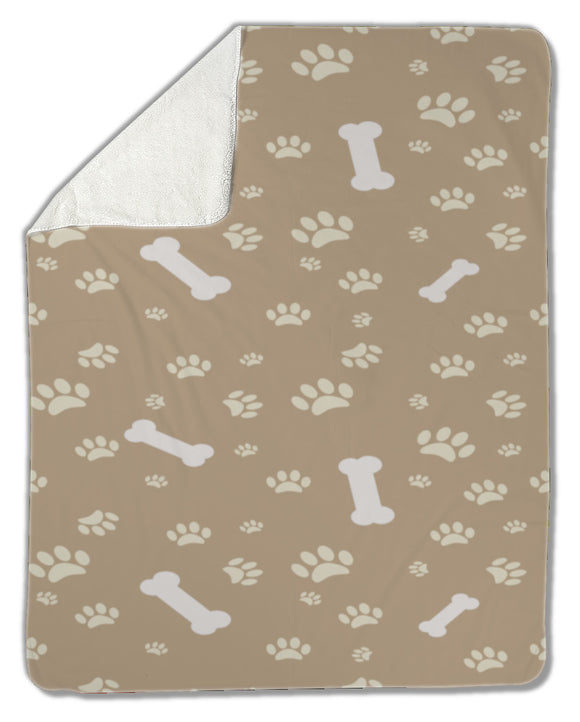 Blanket, Dog paw print and bone