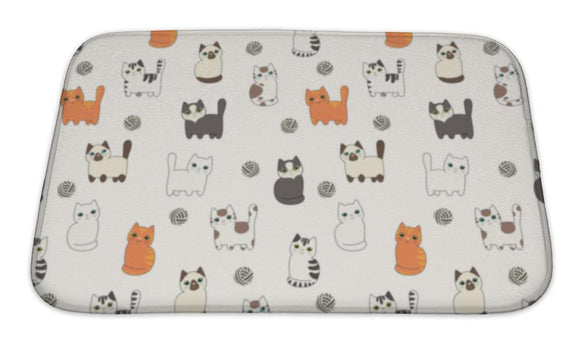 Bath Mat, Funny Cartoon Cats Pattern