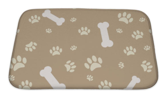 Bath Mat, With Dog Paw Print And Bone