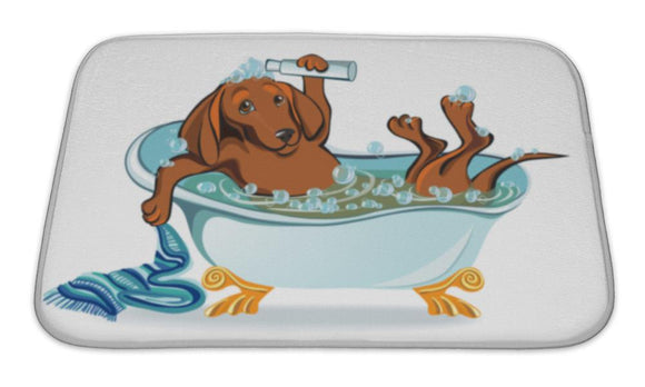 Bath Mat, Dog Bathing Dachshund Lying In The Bath With Bubbles