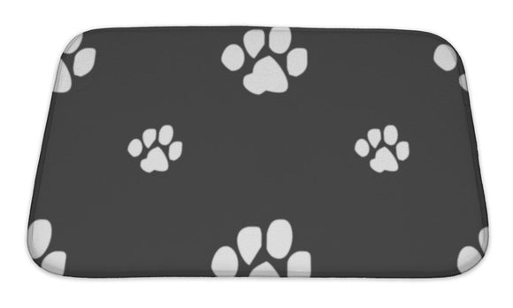 Bath Mat, Trace Dogs Icon Sign Pattern On A Gray