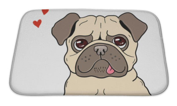 Bath Mat, Illustration Of A Funny Lovely Pug