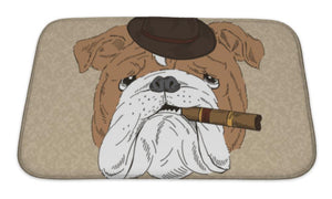 Bath Mat, English Bulldog With Cigar