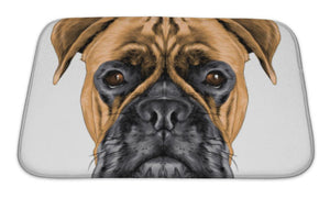 Bath Mat, The Head Of The Dog Breed Boxer Dog Collar C A Sketch Graphics Colored Drawing
