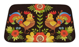 Bath Mat, Colorful Roosters And Flowers