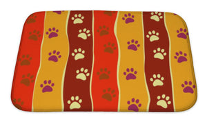 Bath Mat, Bright Cats Or Dogs Paw Print And Stripes Pattern