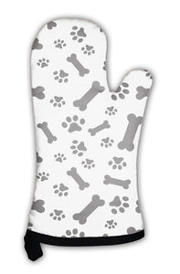 Oven Mitt, Dog Bones And Paws Pattern