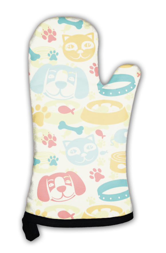 Oven Mitt, Bright Pattern With Funny Cat And Dog