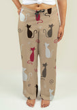 Ladies Pajama Pants with Cats Pattern