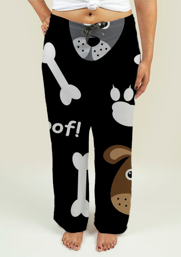 Ladies Pajama Pants with Dogs Pattern