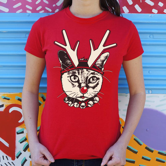 Feline Reindeer T-Shirt (Ladies)
